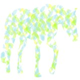 Horse silhouette of colored leaves