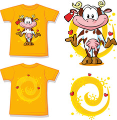 kid shirt with cute cow printed - isolated, back and front view