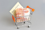 Money with list of purchases in shopping cart on gray