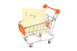 List of purchases in shopping cart isolated on white