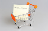 List of purchases in shopping cart on gray