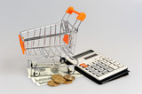 Shopping cart, money and calculator on gray