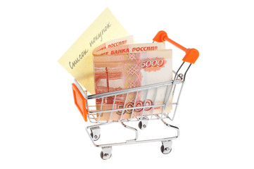 Money with list of purchases in shopping cart isolated on white