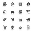 Shopping flat icons with reflection