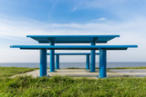 Steel picnic table at Dutch coast