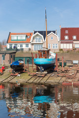 Dutch shipyard of Urk with historic fishing ships