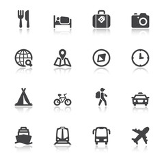 Travel flat icons with reflection
