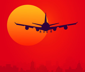 Sunset & Air Plane-Vector