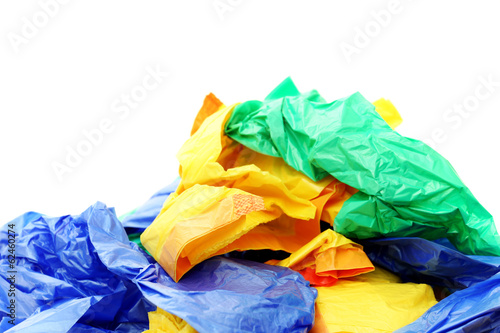 Plastic bags on a white background