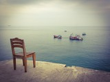 A wooden chair at sea view point