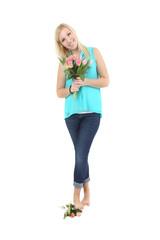 Frau mit Blumen
