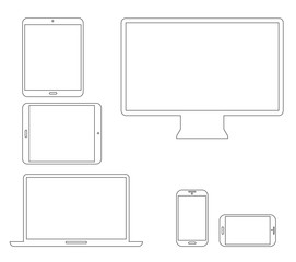 Laptop, tablet, smartphone and computer outline vectors