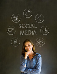 Business woman or teacher with social media icons