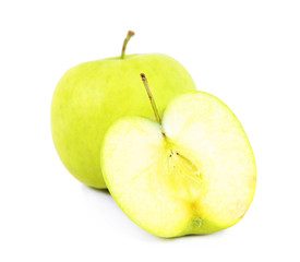 Green apples on a white background.
