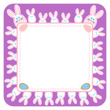 White Easter rabbits ahd eggs on violet frame