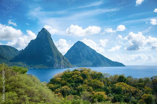 Poster Caraïben Panorama of Pitons at Saint Lucia, Caribbean