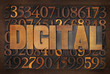 digital word in wood type