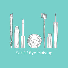 eye makeup set on a turquoise background