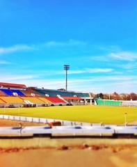 Вид на городской стадион. Футбольное поле