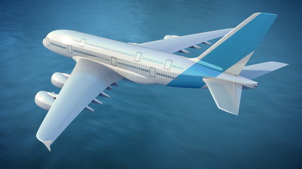 Airplane flies over the sea, loop-ready