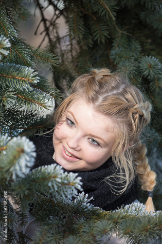 Portrait of the girl among branches
