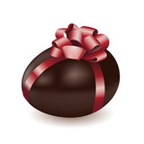 Chocolate egg with red bow