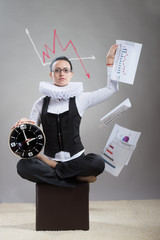 Business lady in ruff collar scattering papers with graphs