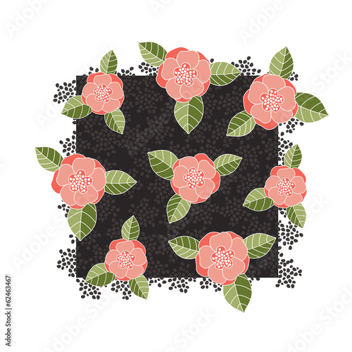Pink roses on a dark square