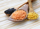 different kinds of lentils - red, yellow and black