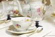 Leinwanddruck Bild - Antique floral tea set