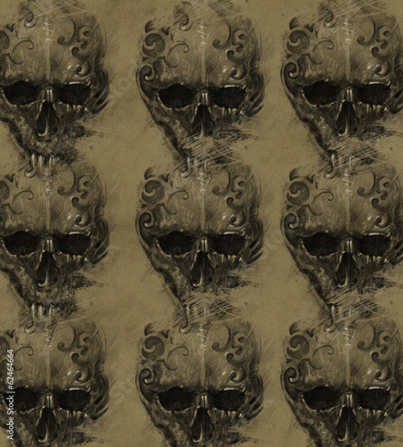 Tattoo skulls over vintage paper, design handmade