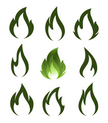 Collection of green fire icons