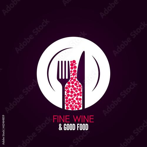 wine glass plate menu design background - 62464859