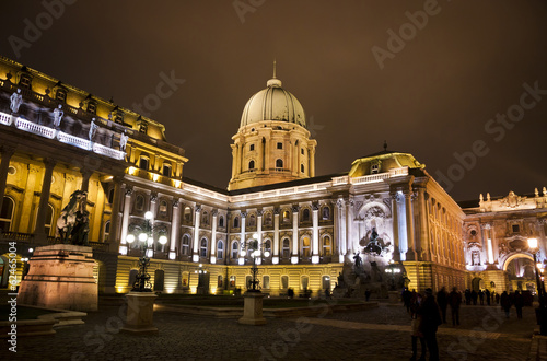 Buda castle inner courtyard at night, Budapest, Hungary