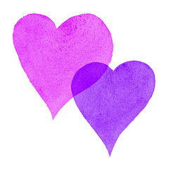 Watercolor Painted Hearts Pink and Purple