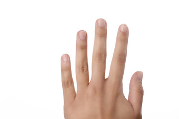 Fingers on a female hand on white
