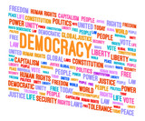 Democracy Word Cloud 3D Concept Illustration