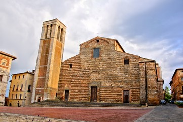 Medieval facade of the duomo of Montepulciano, Tuscany, Italy