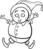 gnome or dwarf cartoon coloring page