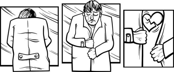 sad man with broken heart comics
