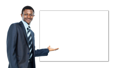 african american business man showing blank signboard