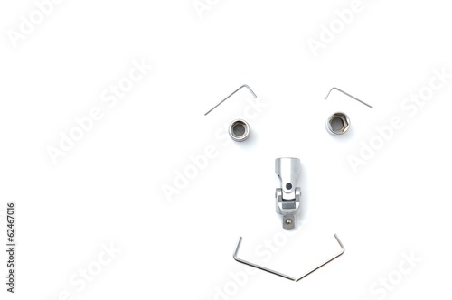 Metallic spanners on white background
