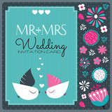 wedding invitation card with birds vector illustration