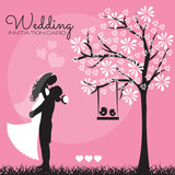 wedding invitation card vector illustration
