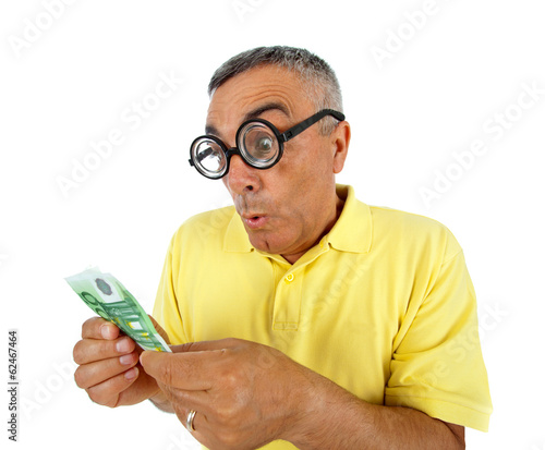 Surprised man with money and WOW expression.