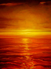 sunset on the sea, painting by oil on canvas,  illustration