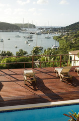 view English Harbor Antigua island Caribbean Sea from deck with