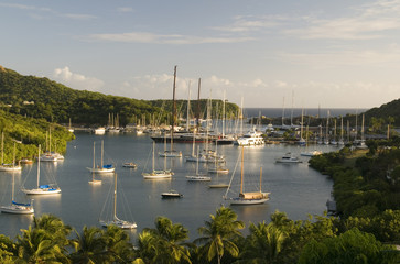 landscape view English Harbor Harbour Antigua island Caribbean S
