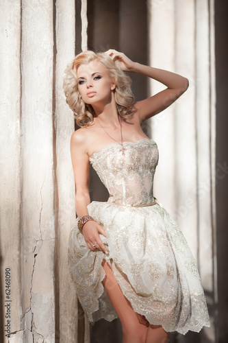 blonde sexy woman vogue style bride wedding fashion