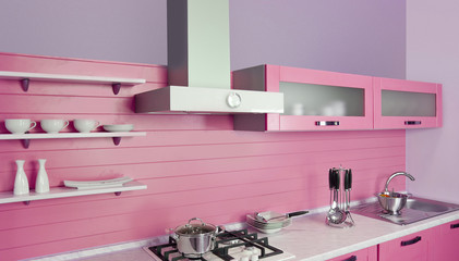 Modern pink kitchen